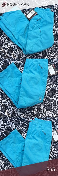 Spyder ski pant size 12 baby blue with design/ Spyder ski pant size 12 baby blue with design/ on tag stroke design is listed for review Spyder Pants