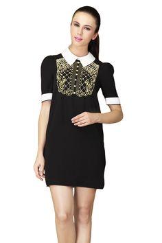 Black Short Sleeve Back Zipper Bead Rhinestone Dress