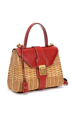 Monogrammable Hadley Rattan Bag in Red Saffiano Leather by Mark Cross for Preorder on Moda Operandi