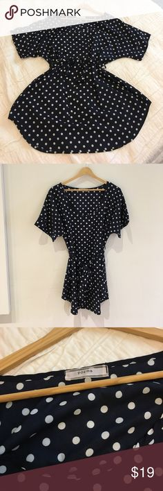 Poema L navy white polka dot tie tunic top Cute navy & white polka dot tunic top. Brand Poema from ModCloth. Tie waist. A-line shape and covers bum :) VGUC Modcloth Tops Blouses
