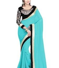 Buy Sky Blue embroidered Georgette saree with blouse party-wear-saree online