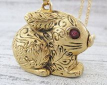 Gold Rabbit Pendant Necklace, Rabbit Locket, Vintage Max Factor Bunny Necklace, Bunny Rabbit Jewelry