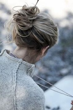 adorable messy bun with hair stick