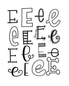 Verschiedene Möglichkeiten, den Buchstaben E zu lettern