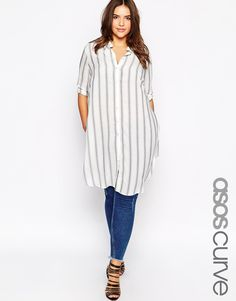 ASOS CURVE Stripe Blouse With Side Splits