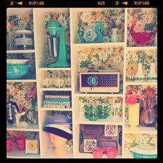 Retro items on display.