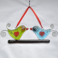 Fused Glass Hanging Ornament - Love Birds 02 – £14. Measures approximately 8 x 23cm. www.glassbygenea.co.uk #glassbygenea #fusedglass