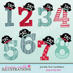 Pirate Hat Numbers Cute Digital Clipart for Card Design, Scrapbooking, and Web Design
