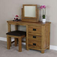 Rustic Oak Pedestal Dressing Table