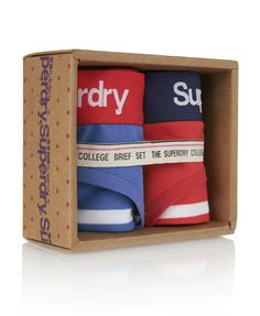 Womens - College Brief Twin Pack in Cobalt Breton & Red Breton | Superdry