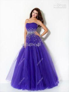 Bling Evening Dress Gown Strapless Rhinestone Beadwork Corset Purple Chiffon Young Girls Party Wear