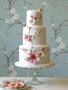 Pastel cherry blossom cake