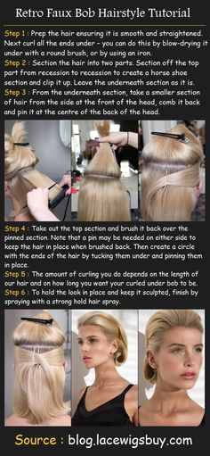 Retro Faux Bob Hairstyle As perfect as a Stepford wife, as ice cool as Betty Draper, as vintage as yesteryear and as modern as tomorrow, 2012′s faux bob hairstyle gives the year a structured, pristine, 'done' hairstyle that borrows much from the 60s fashion revival. her is a tutorial on how to make this look …