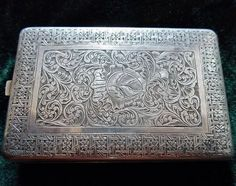 Armenian engraved silver cigarette case.  (Not Bible, but similarly awesome carving, so I'm putting it here.) From Van, early 20th century.