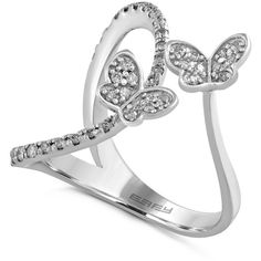 Effy Diamond Butterfly Ring (1/3 ct. t.w.) in 14K White Gold ($1,127) ❤ liked on Polyvore featuring jewelry, rings, no color, 14k diamond ring, butterfly jewelry, white gold jewelry, butterfly ring and round cut rings