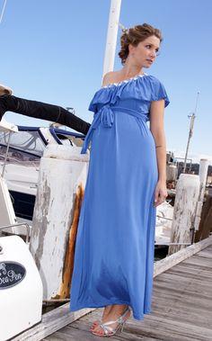 One Shoulder Maxi Maternity Dress - Iris Blue