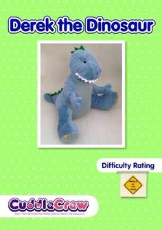 Dinosaur Soft Toy ... by Cuddle Crew Patterns | Sewing Pattern - Looking for your next project? You're going to love Dinosaur Soft Toy Sewing Pattern. T-rex  by designer Cuddle Crew Patterns. - via @Craftsy
