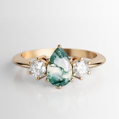 Three Stone Engagement Rings, Three Stone Rings, Vintage Engagement Rings, Alternative Engagement Rings, Piercings, Gold Sapphire Ring, Agate Ring, Rainbow Moonstone, Hamsa
