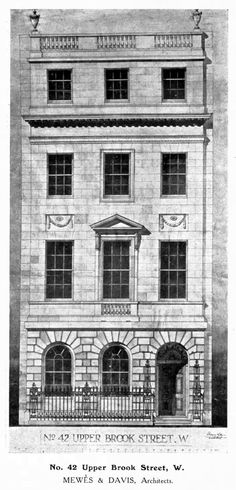 Design for a townhouse on Upper Brook Street, London