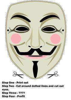 Máscara de Vendetta para Imprimir Gratis.