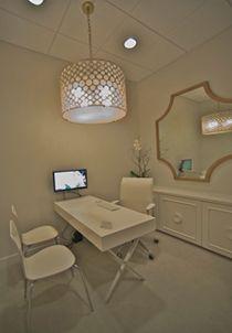 dreamy in white, love the barrel light fixture, mirror, desk & sideboard #home #office #designs