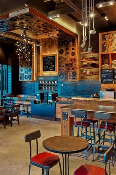 Located next door to the Moody Theatre, home of Austin City Limits Live, this new Starbucks was inspired by Austin, Texas, the Live Music Capital of the World, with details like speaker paneling, microphone chandeliers and spotlight pendant lighting.