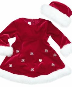 Bonnie Baby Set, Baby Girls Santa 2-Piece Hat and Dress
