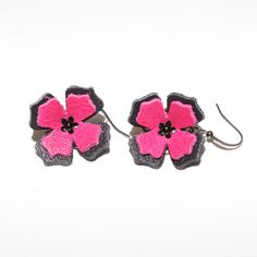 Leather Flower Earrings by TinkerGirls on Etsy