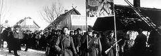 Sowjetische Truppen auf dem Vormarsch in Ostpreussen -Soldaten tragen ein Transparent mit der Aufschrift: Mission Berlin. | Rechte: dpa