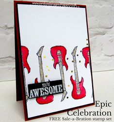 Sarah-Jane Rae cardsandacuppa: Stampin' Up! UK Order Online 24/7: Red Guitar Epic Celebration Card - A FREE SaB Stamp Set