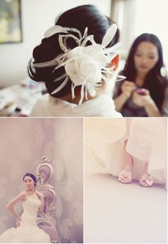 Love the flower hair piece for the reception. ...and I wouldn't mind being that skinny for my wedding. lol