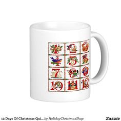 12 Days Of Christmas Quilt Print Gifts Classic White Coffee #Mug #Christmas #12DaysOfChristmas #HolidayGifts #Gifts #Shopping