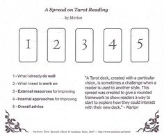 Aeclectic Spreads A spread on tarot reading