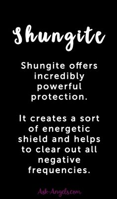 Shungite offers incredibly powerful protection. It creates a sort of energetic shield and helps to clear out all negative frequencies. #emf #crystals