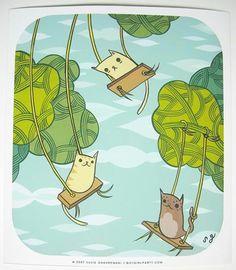 Swinging Cats Art Print (Signed)