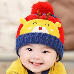 531df9823e1 Cute baby caps Deer animal style Wool knit hat Plush ball hats Toddler 5  colors Props Photo Shoot Kids cap Kids for babes