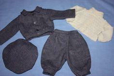 Wool Tweed Four Piece Set for Bisque Boy Dolls