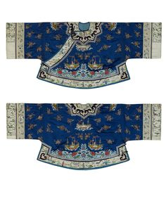 Informal Coat,  China,  Manchu, 1880's. Silk, metallic-wrapped yarns, buttons, metal; satin weave, embroidered. L: 25.5 inches, W: 58.5 inches.