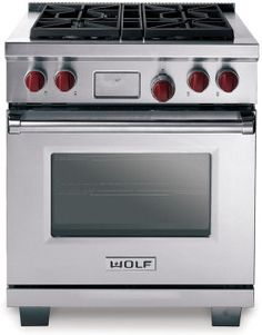 Wolf DF304X 30 Inch Pro-Style Dual-Fuel Range with 4 Dual-Stacked Sealed Burners, 4.5 cu. ft. Dual Convection Oven, Self-Clean, 10 Cooking Modes, Temperature Probe and Pivoting Hidden Touch Controls