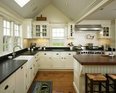 I really like this. :) I wouldn't mind putting painted beadboard around the kitchen of the walls, below the trim...I believe you mentioned that once. I like the idea. -RA  Beadboard backsplash. cute farmhouse kitchen