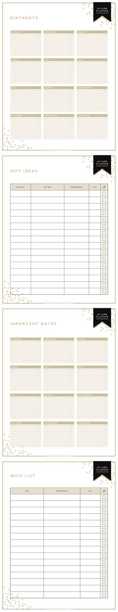 Free Printable Birthdays \ Important Dates Planner - With this - birthday planner template