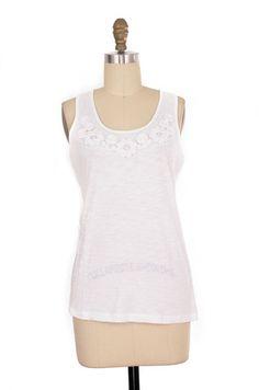 Banana Republic White Decorative Tank Size XS   ClosetDash #fashion #style #tops #blouse