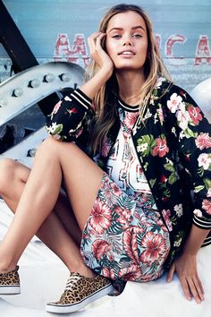 Go full bloom with mixed tropical floral prints. Patterned pilot jacket & athletic t-shirt dress with sports number.│ H&M Divided
