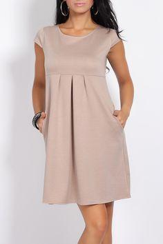 Ciążowa Sukienka Rozkloszowana Beż 1198 - Vein - Bluzki i sukienki ciążowe