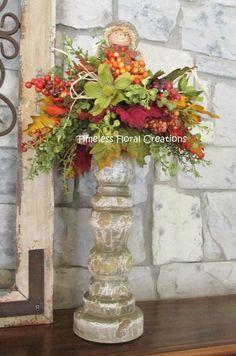 Church Flower Arrangements, Fall Arrangements, Fall Door Decorations, Floral Decorations, Thanksgiving Decorations, Autumn Decorating, Decorating Ideas, Floral Centerpieces, Centerpiece Ideas