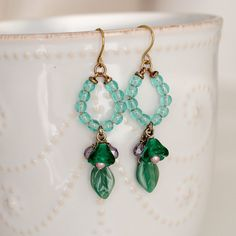 Green Flower and Leaf Glass Brass Dangle Earrings by YuniDesigns