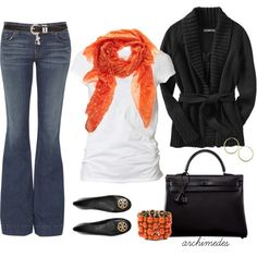 Work outfit on Halloween. I'd wear skinny jeans instead with black boots for cooler weather.