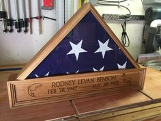 Check out American flag Shadow Box Oak. Beautifully #Lasered by Blue Ribbon Trophy.