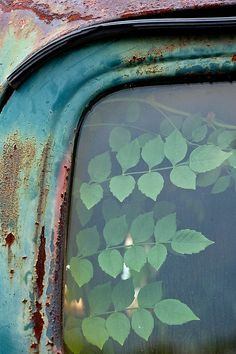 ♂ Aged with beauty rusty car frame with Leafy window