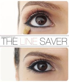 LADIES! If you wear eye liner and find that sometimes it gets uly and messed up on the lower lash line during the day.. this trick stops that from happening. It happens to a lot of us - I think we can all agree that if you spend the time to put the liner on, you can take two extra seconds to make it stay pretty all day!
